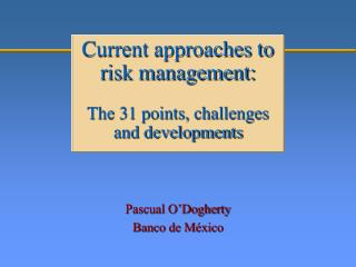 Current approaches to risk management: The 31 points, challenges and developments