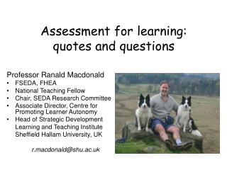 Assessment for learning: quotes and questions