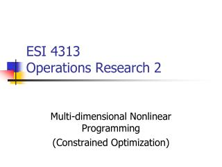 ESI 4313 Operations Research 2