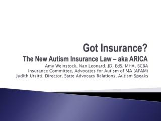 Got Insurance? The New Autism Insurance Law – aka ARICA