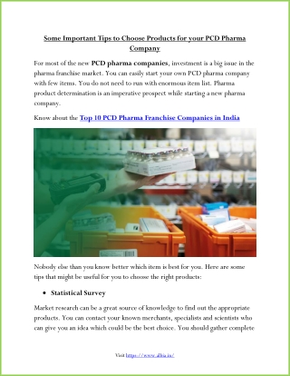 Some Important Tips to Choose Products for your PCD Pharma Company