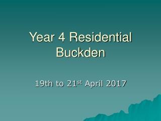 Year 4 Residential Buckden