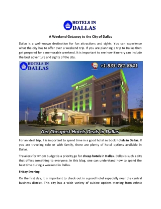 A Weekend Getaway to The City of Dallas