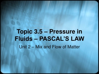 Topic 3.5 – Pressure in Fluids – PASCAL'S LAW