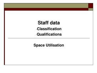 Staff data Classification Qualifications Space Utilisation