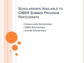 Scholarships Available to CIBER Summer Program Participants