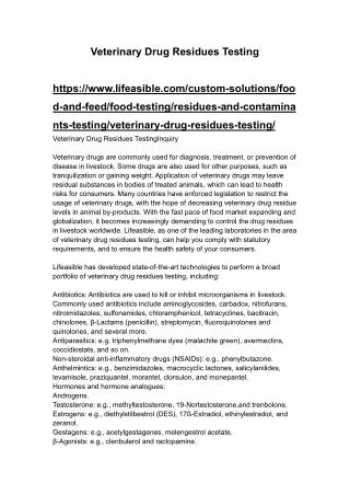 Veterinary Drug Residues Testing