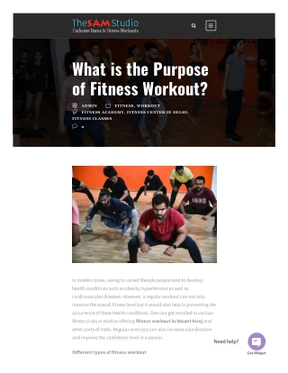 What is the Purpose of Fitness Workout? The Sam Studio
