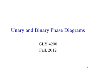 Unary and Binary Phase Diagrams
