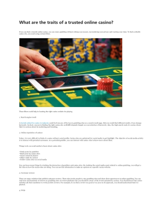 What are the traits of a trusted online casino?