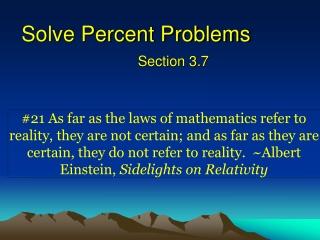 Solve Percent Problems