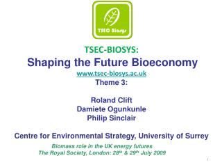 T SEC-BIOSYS: Shaping the Future Bioeconomy www.tsec-biosys.ac.uk Theme 3: Roland Clift  Damiete Ogunkunle  Philip Sincl