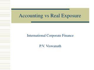 Accounting vs Real Exposure