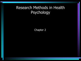 Research Methods in Health Psychology