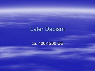 Later Daoism