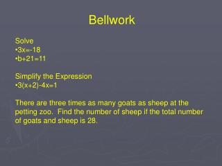 Solve 3x=-18 b+21=11 Simplify the Expression 3(x+2)-4x=1