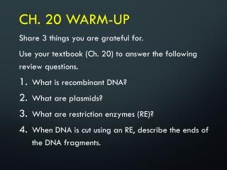 Ch. 20 Warm-Up