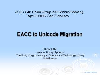 EACC to Unicode Migration