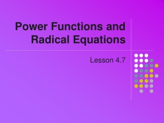 Power Functions and Radical Equations