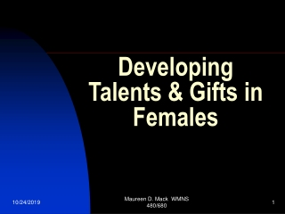 Developing Talents & Gifts in Females