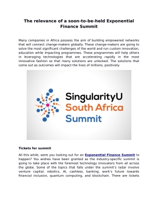 The relevance of a soon-to-be-held Exponential Finance Summit