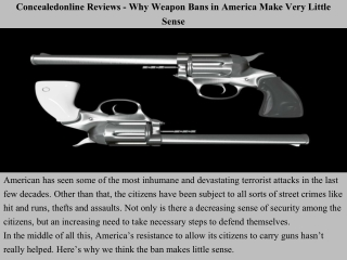 Concealedonline Reviews - Why Weapon Bans in America Make Very Little Sense