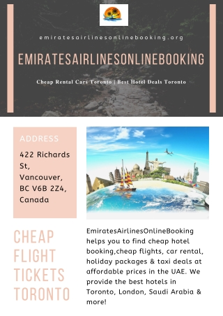 Cheap Flight Tickets Toronto
