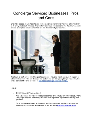 Concierge Serviced Businesses: Pros and Cons
