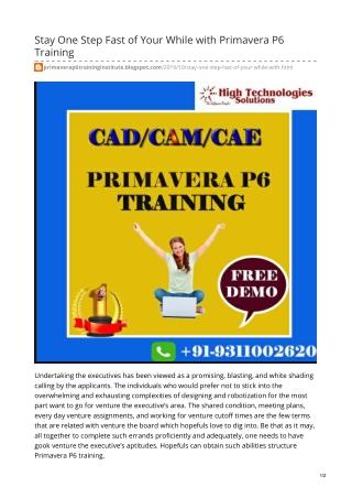 Primavera P6 Training in Delhi, Noida with Placement