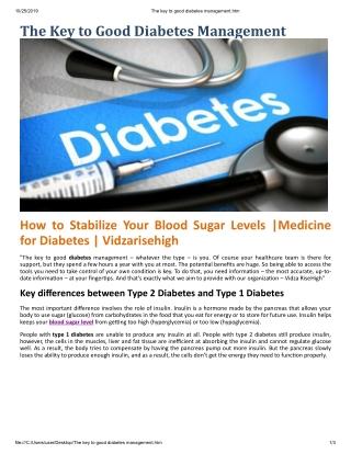 The Key To Good Diabetes Management