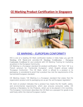 CE Marking Certification in Singapore