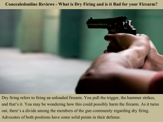 Concealedonline Reviews - What is Dry Firing and is it Bad for your Firearm?