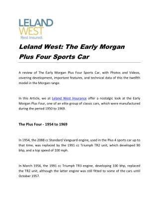 Leland West: The Early Morgan Plus Four Sports Car