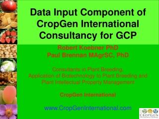 Data Input Component of CropGen International Consultancy for GCP