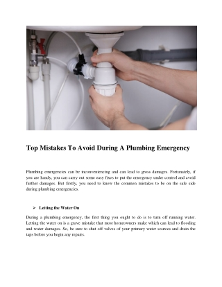 Top Mistakes To Avoid During A Plumbing Emergency