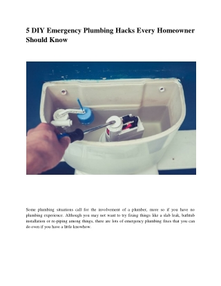 5 DIY Emergency Plumbing Hacks Every Homeowner Should Know