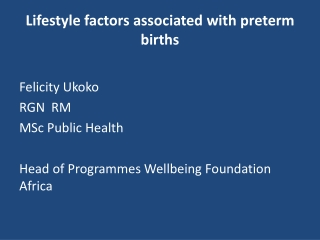Lifestyle factors associated with preterm births