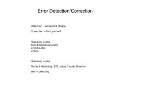 Error Detection/Correction
