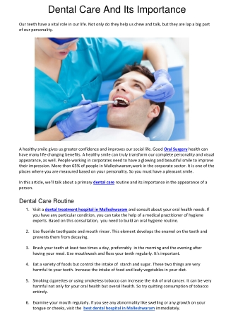 Dental Care And Its Importance