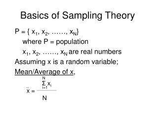 Basics of Sampling Theory