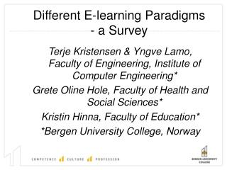 Different E-learning Paradigms  - a Survey