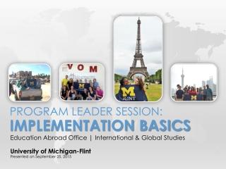 Program Leader Session: Implementation basics