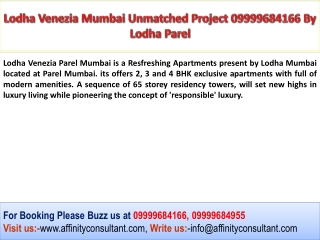 Lodha Venezia Parel Mumbai Refreshing 1 to 4 BHK Apartments