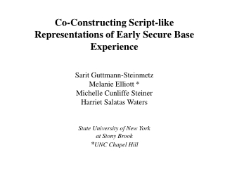 Co-Constructing Script-like Representations of Early Secure Base Experience