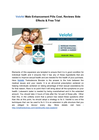 Velofel Pills Cost, Reviews, Side Effects & Scam Free Trial Pills