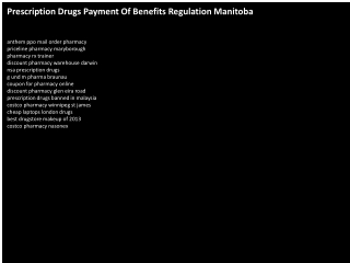 Prescription Drugs Payment Of Benefits Regulation Manitoba