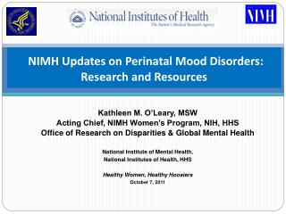 NIMH Updates on Perinatal Mood Disorders: Research and Resources