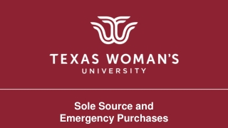 Sole Source and Emergency Purchases