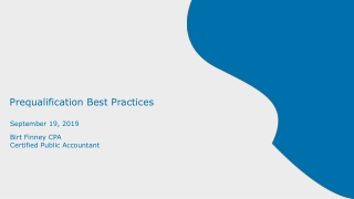 Prequalification Best Practices