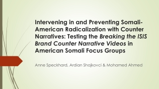 Anne Speckhard, Ardian Shajkovci & Mohamed Ahmed